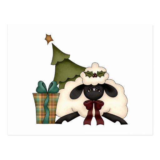 ovejas adorables del tiempo del navidad postal