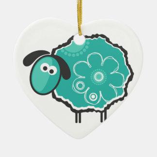 Ovejas afortunadas adorno navideño de cerámica en forma de corazón