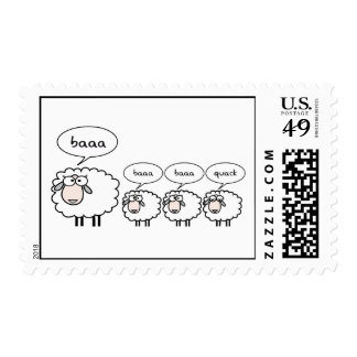 Ovejas agujereadas timbre postal