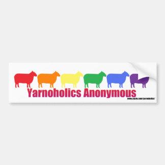 Ovejas anónimas del arco iris de Yarnoholics Pegatina Para Auto