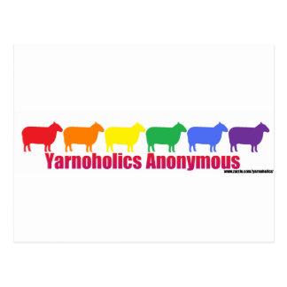 Ovejas anónimas del arco iris de Yarnoholics Tarjetas Postales