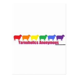 Ovejas anónimas del arco iris de Yarnoholics Tarjeta Postal