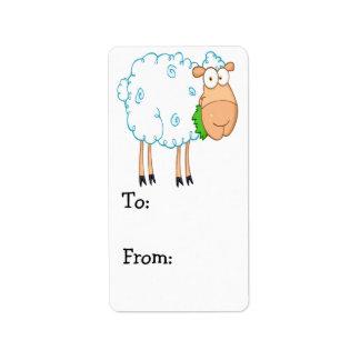 ovejas blancas del dibujo animado enrrollado etiqueta de dirección