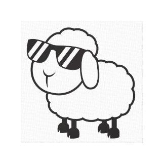 Ovejas blancas en dibujo animado de las gafas de lona estirada galerías