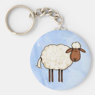 ovejas blancas llavero redondo tipo pin