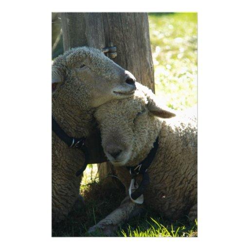 Ovejas de la oveja del amor papelería de diseño