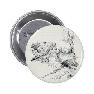 Ovejas de la vaca del vintage en la impresión del pin
