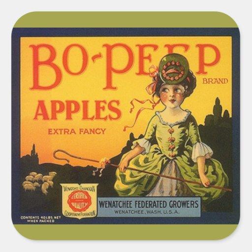 Ovejas de las manzanas del BO-Pío de la publicidad Pegatina Cuadrada