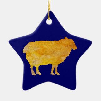 Ovejas de oro adorno navideño de cerámica en forma de estrella