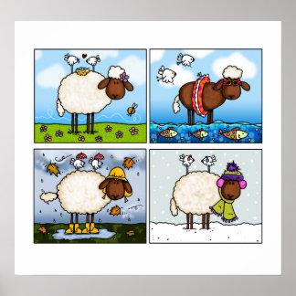 ovejas de todo el poster de las estaciones