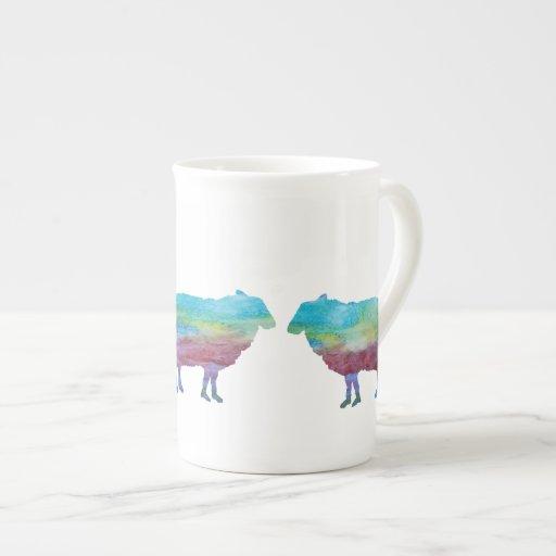 Ovejas del arco iris taza de porcelana