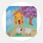 ovejas del arte popular pegatina redonda