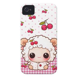 Ovejas del bebé de Kawaii y cerezas lindas Carcasa Para iPhone 4