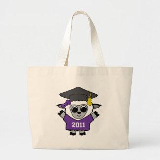 Ovejas del chica graduado púrpura y del blanco 201 bolsa tela grande