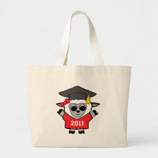 Ovejas del chica graduado rojo y del blanco 2011 bolsa tela grande