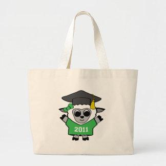 Ovejas del chica graduado verde y del blanco 2011 bolsa tela grande