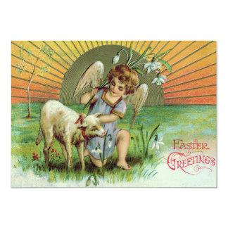 """Ovejas del cordero de Sun de la querube del ángel Invitación 5"""" X 7"""""""