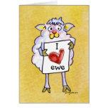 Ovejas del dibujo animado del día de San Valentín Tarjeta De Felicitación