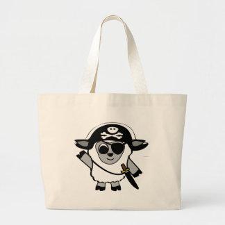 Ovejas del muchacho en traje del pirata bolsa tela grande