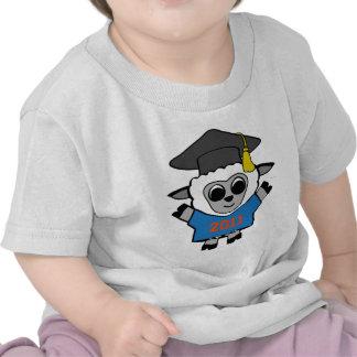 Ovejas del muchacho graduado azul y del naranja camiseta