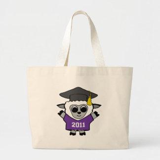 Ovejas del muchacho graduado púrpura y del blanco  bolsa tela grande