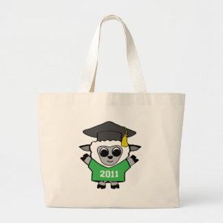 Ovejas del muchacho graduado verde y del blanco 20 bolsa tela grande