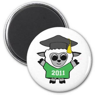 Ovejas del muchacho graduado verde y del blanco 20 imán redondo 5 cm