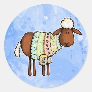 ovejas del suéter pegatina redonda
