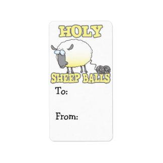ovejas divertidas del hilado de las bolas santas d etiquetas de dirección
