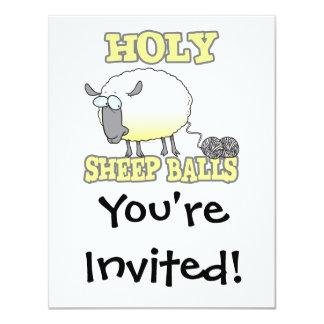 """ovejas divertidas del hilado de las bolas santas invitación 4.25"""" x 5.5"""""""