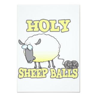 """ovejas divertidas del hilado de las bolas santas invitación 5"""" x 7"""""""