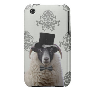 Ovejas divertidas del novio en sombrero de copa iPhone 3 Case-Mate protector
