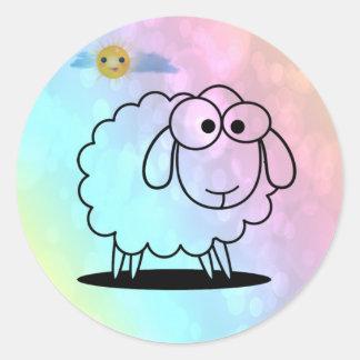 ovejas divertidas, suaves pegatina redonda