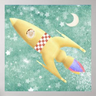 Ovejas en un viaje del cohete - impresión del post impresiones