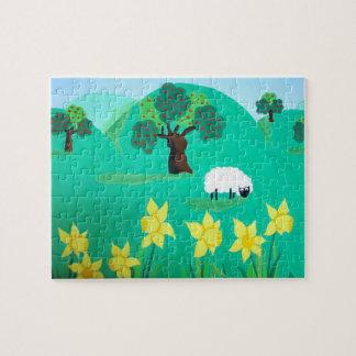 ovejas lindas con las colinas niños del cielo azul rompecabezas con fotos