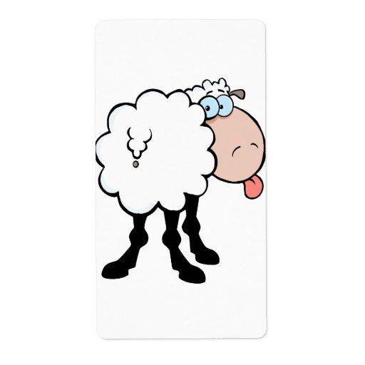 ovejas lindas divertidas que pegan la lengua hacia etiqueta de envío