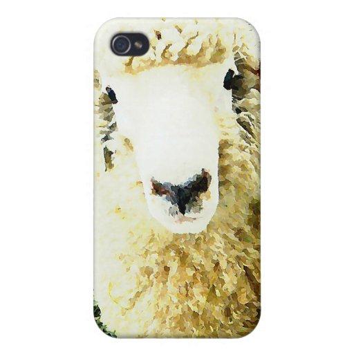 Ovejas mullidas blancas lindas iPhone 4 carcasas