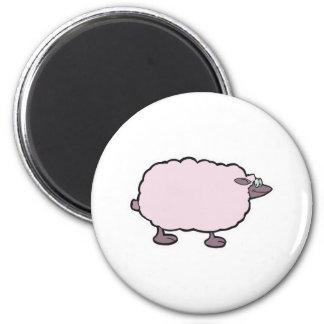 ovejas mullidas felices imán redondo 5 cm