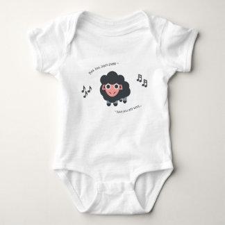 Ovejas negras del bebé de la poesía infantil del body para bebé