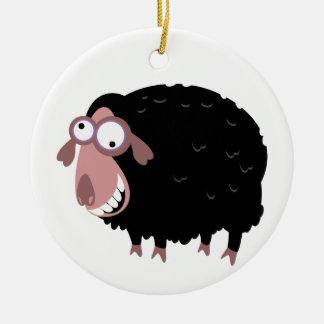 Ovejas negras divertidas adorno navideño redondo de cerámica