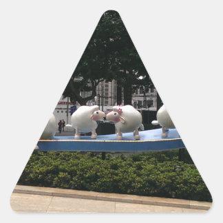 Ovejas Pegatina Triangular