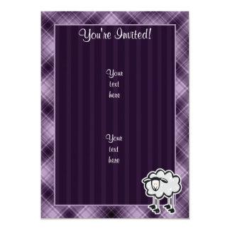 "Ovejas púrpuras invitación 5"" x 7"""