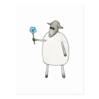 Ovejas que dan una flor tarjeta postal