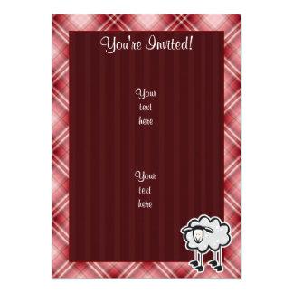 """Ovejas rojas de la tela escocesa invitación 5"""" x 7"""""""