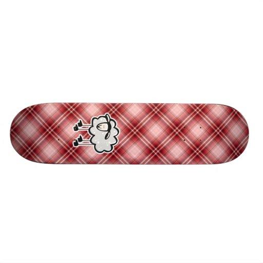 Ovejas rojas de la tela escocesa patines personalizados