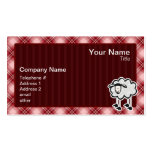 Ovejas rojas de la tela escocesa tarjetas de visita