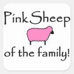 Ovejas rosadas de la familia pegatina cuadradas personalizada