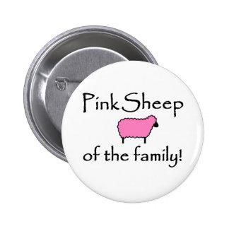 Ovejas rosadas de la familia pin redondo de 2 pulgadas