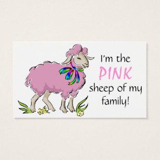 Ovejas rosadas de la familia tarjetas de visita