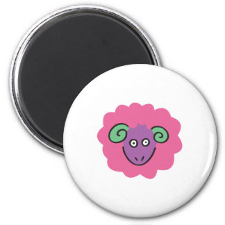 ovejas rosadas lindas imán redondo 5 cm